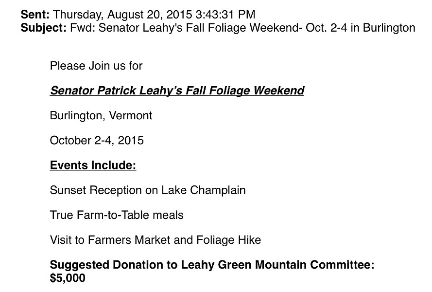Invitation to Sen. Patrick Leahy's Fall Foliage Weekend - SCREENSHOT