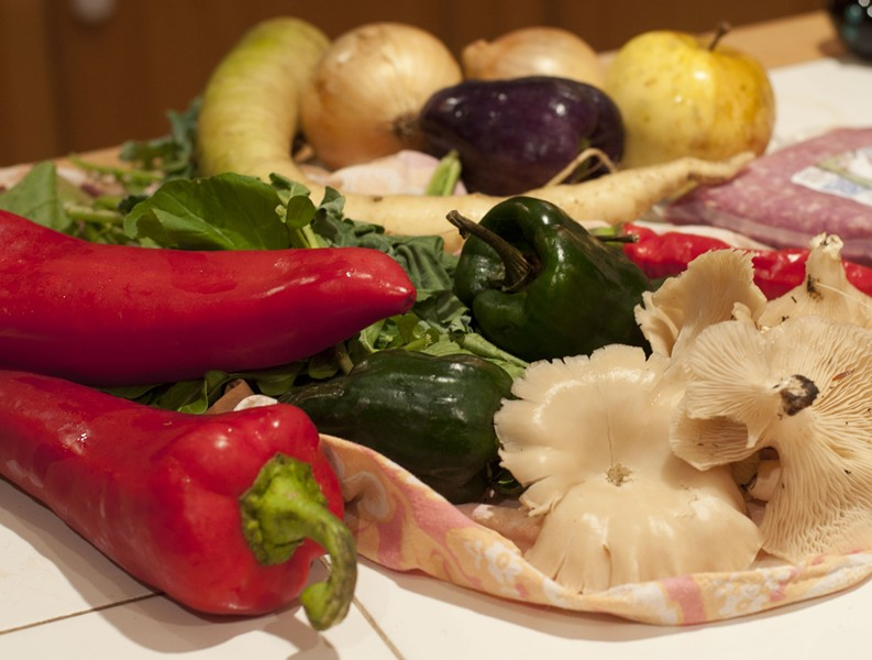 Fall feast: peppers, white carrots, apples, oyster mushrooms, pork - HANNAH PALMER EGAN