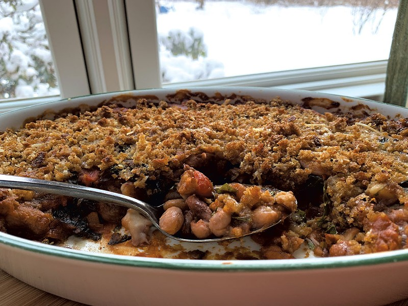 Bean gratin made with locally grown Vermont cranberry and Jacob's Cattle beans, kale and mushrooms - MELISSA PASANEN