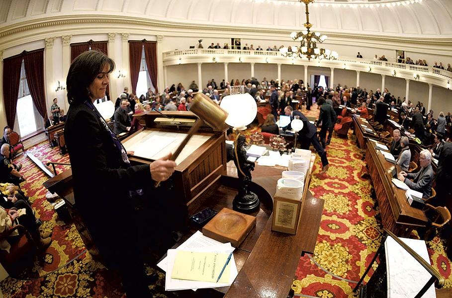 House Speaker Mitzi Johnson gaveling in the new legislative session - JEB WALLACE-BRODEUR