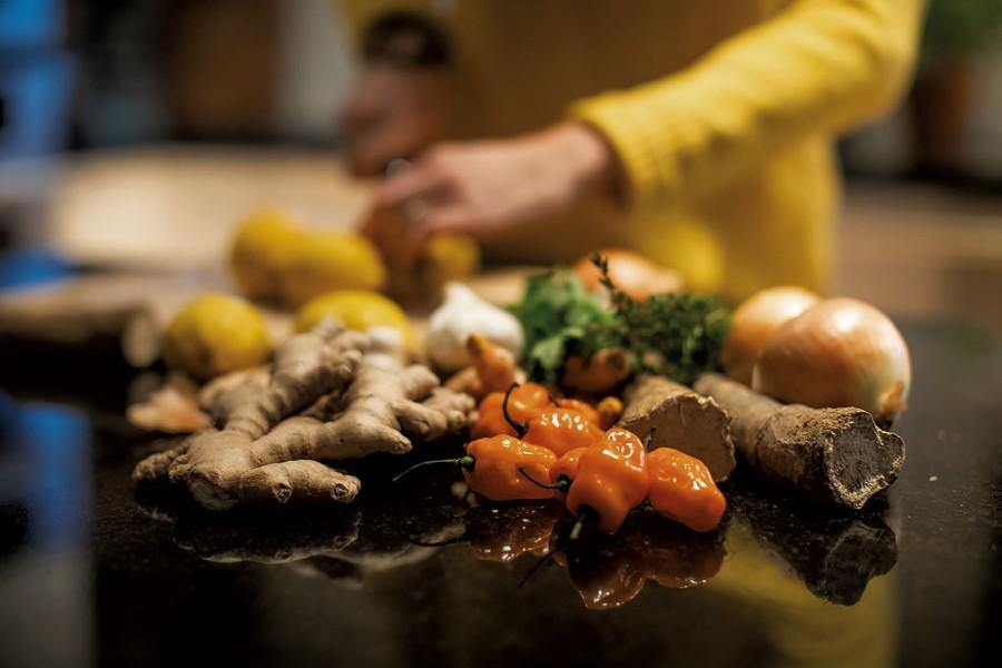 Some of the Yerbary Master Tonic base ingredients: onion, habañero, horseradish root, ginger, garlic and turmeric - LUKE AWTRY
