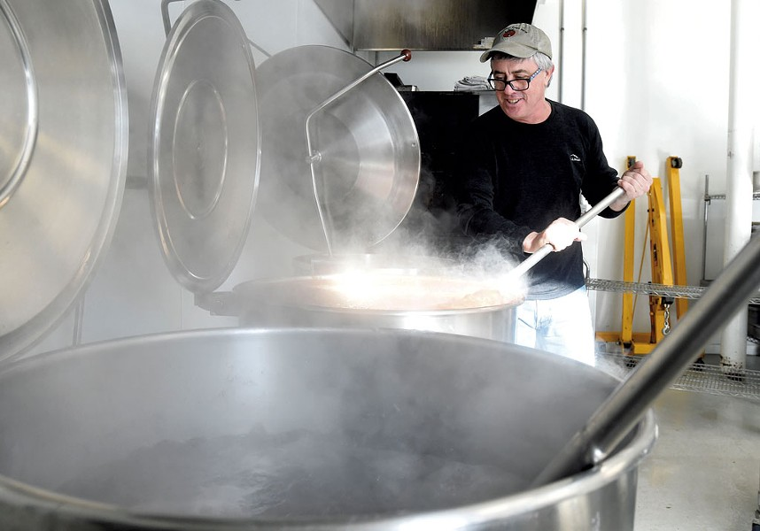 Joe Buley making soup at Joe's Kitchen in Montpelier - JEB WALLACE-BRODEUR