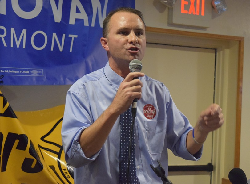 T.J. Donovan kicks off his 2016 campaign for attorney general. - TERRI HALLENBECK