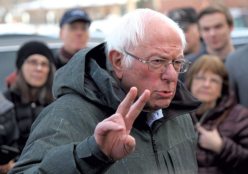 Sen. Bernie Sanders outside a Grinnell coffee shop - PAUL HEINTZ