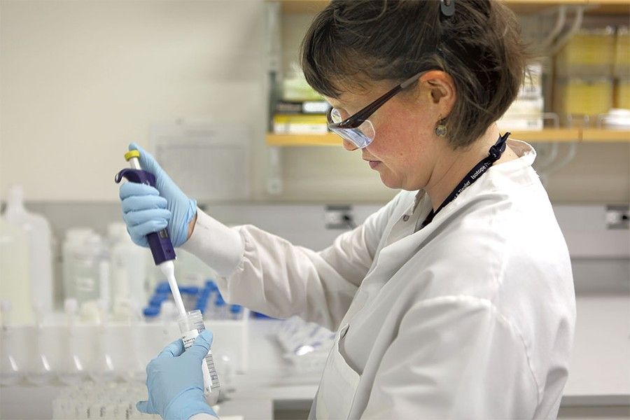 The Vermont Health Department's Ali Boren performing a lead test on a water sample - FILE: KEVIN MCCALLUM
