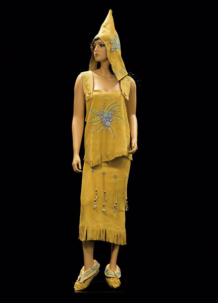Traditional beaded buckskin dress made by Lori Lambert. Beaded hood and moccasins made by Francine Jones. Both are Nulhegan Citizens. - COURTESTY OF DIANE STEVENS
