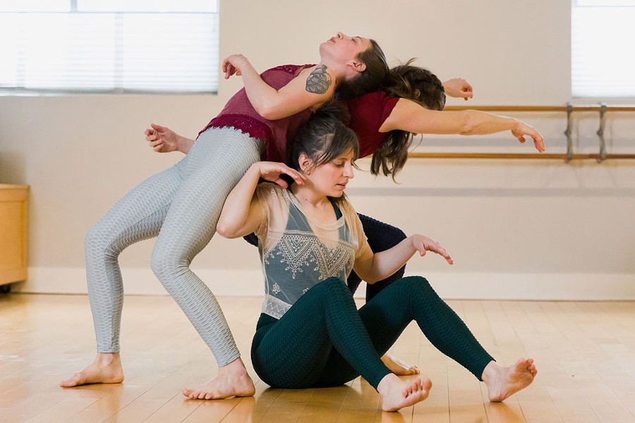 Clockwise from top: Danielle Tekut, Nicole Dagesse and Jessie Owens rehearsing They Say a Lady Was the Cause of It - OLIVER PARINI