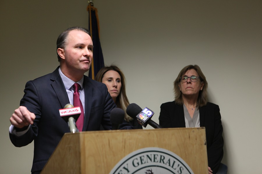 Attorney General T.J. Donovan speaking at a press conference Thursday - KEVIN MCCALLUM
