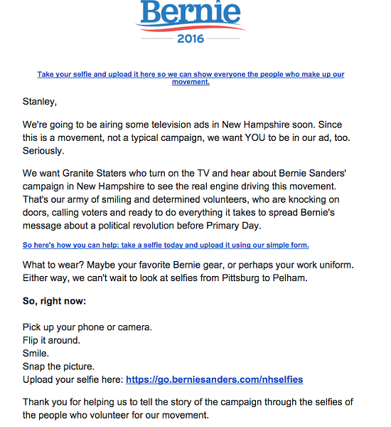 Sanders' campaign email to supporters in New Hampshire.