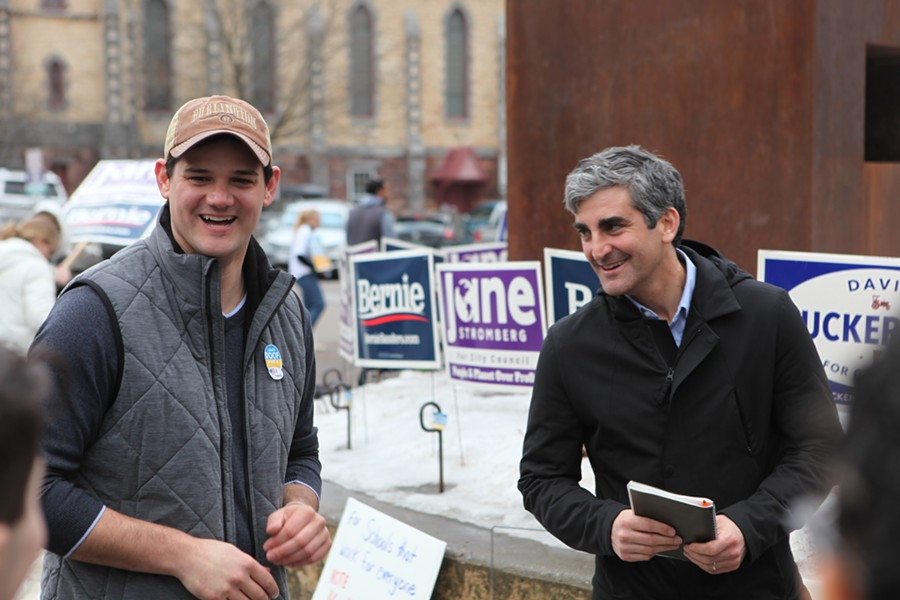 Adam Roof, left, campaigning Tuesday with Mayor Miro Weinberger - KEVIN MCCALLUM