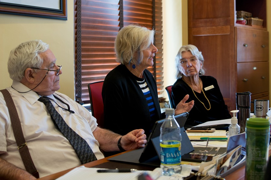 Rep. Sandy Haas, right, looks on as Rep. Ann Pugh discusses the bill in January - FILE: COLIN FLANDERS