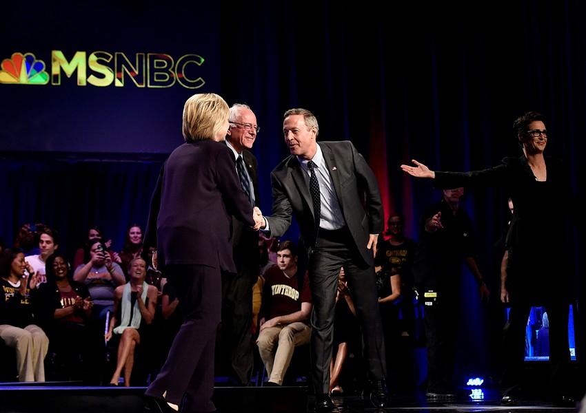 "Hillary Clinton, Bernie Sanders, Martin O'Malley and Rachel Maddow during MSNBC's ""First in the South Democratic Candidates Forum"" Friday in Rock Hill, S.C. - GRANT HALVERSON/MSNBC"