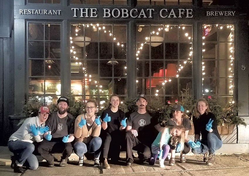 The team at The Bobcat Café & Brewery after finishing a night of takeout service - COURTESY PHOTO