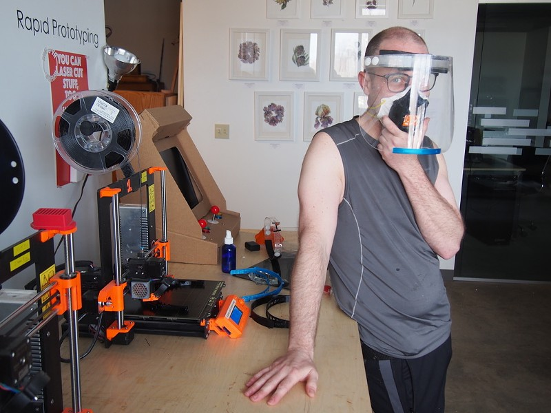 Jake Blend showing off one of his prototype face shields - COURTESY OF GENERATOR