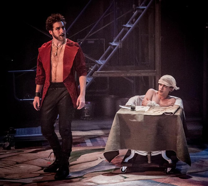 Peter Hiebert as de Sade, left, and Garrett Garcia as Marat - COURTESY OF DOK WRIGHT PHOTOGRAPHY