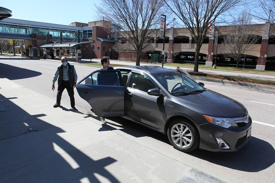 Burlington resident Zack Maroon catching an Uber from the airport on Tuesday - KEVIN MCCALLUM