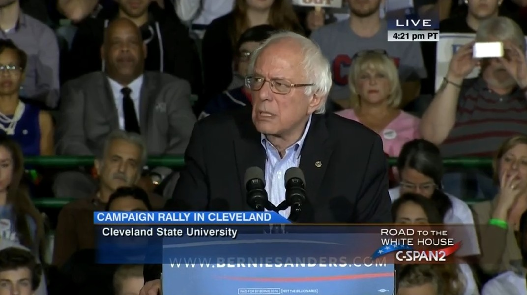 Sen. Bernie Sanders speaks at a rally Monday in Cleveland - C-SPAN