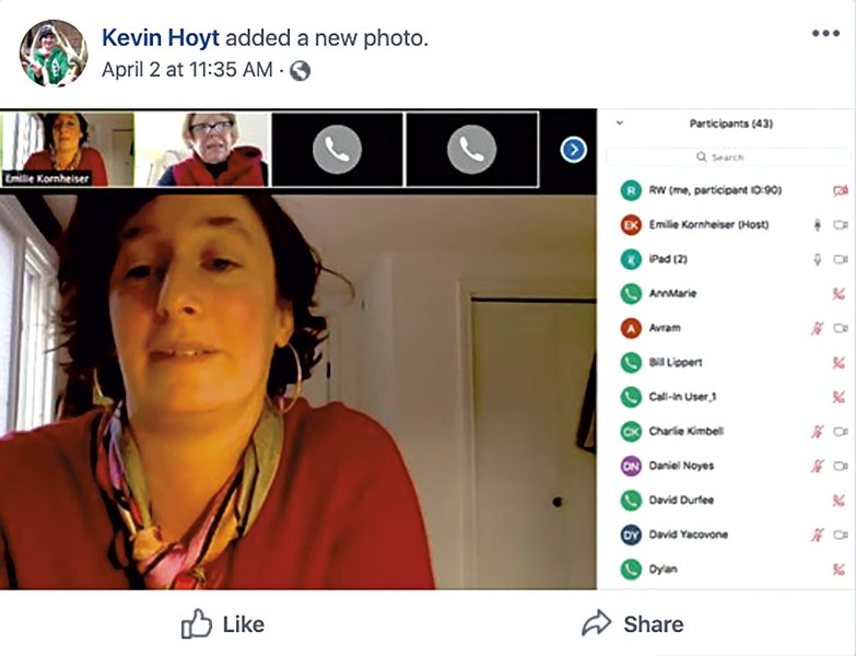 Screenshot of Kevin Hoyt's Facebook page showing Rep. Emilie Kornheiser moderating a Zoom meeting