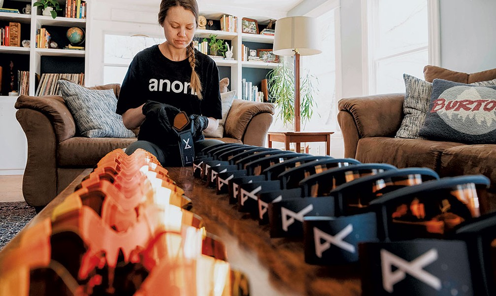 Burton staff are swapping lenses from mirrored to amber on some of the 1,300 Helix goggles Anon donated to Goggles for Docs. The amber tint will be easier to use in a hospital setting, and the Helix model fits over existing eyeglasses. - COURTESY OF BURTON SNOWBOARDS