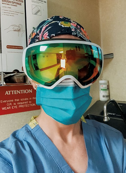 Surgeon Catherine Logan, MD wearing a pair of donated goggles. - PHOTOS COURTESY OF BURTON SNOWBOARDS