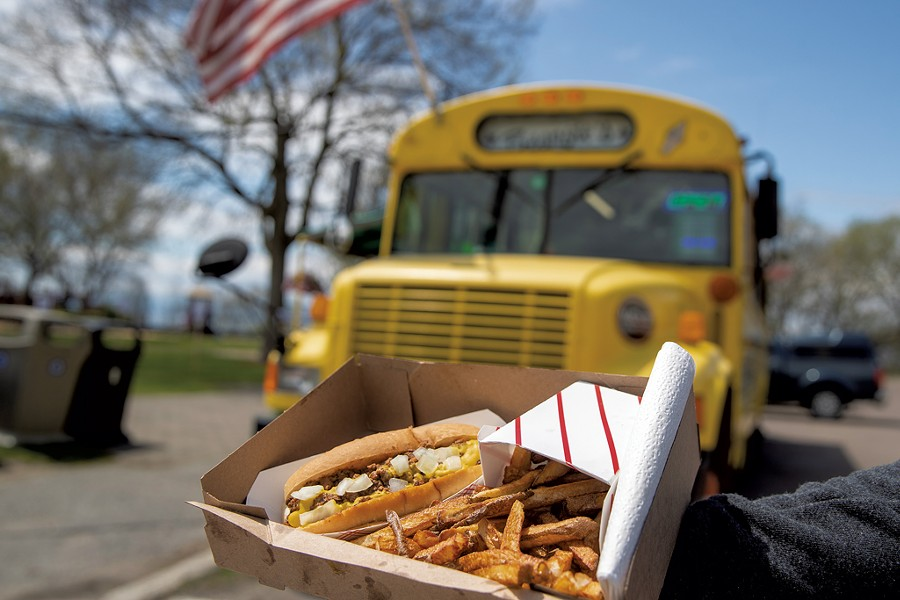 Fries and a Michigan dog from Beansie's - JAMES BUCK
