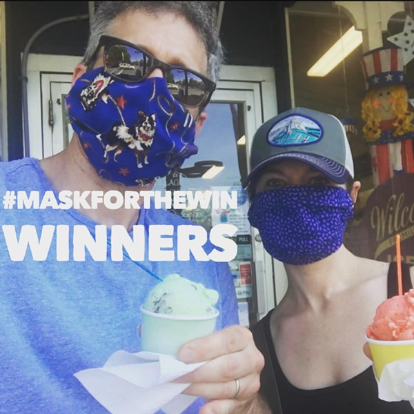The first winners of #maskforthewin at the Village Chocolate Shoppe in Bennington - COURTESY SARAH PERRIN AND VERMONT RETAIL & GROCERS ASSOCIATION