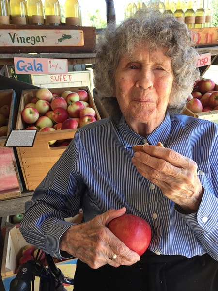Jane Denker on her 99th birthday, enjoying a visit to Shelburne Orchards