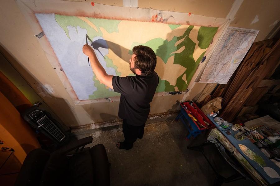 Ross Sheehan's garage studio - COURTESY PHOTO