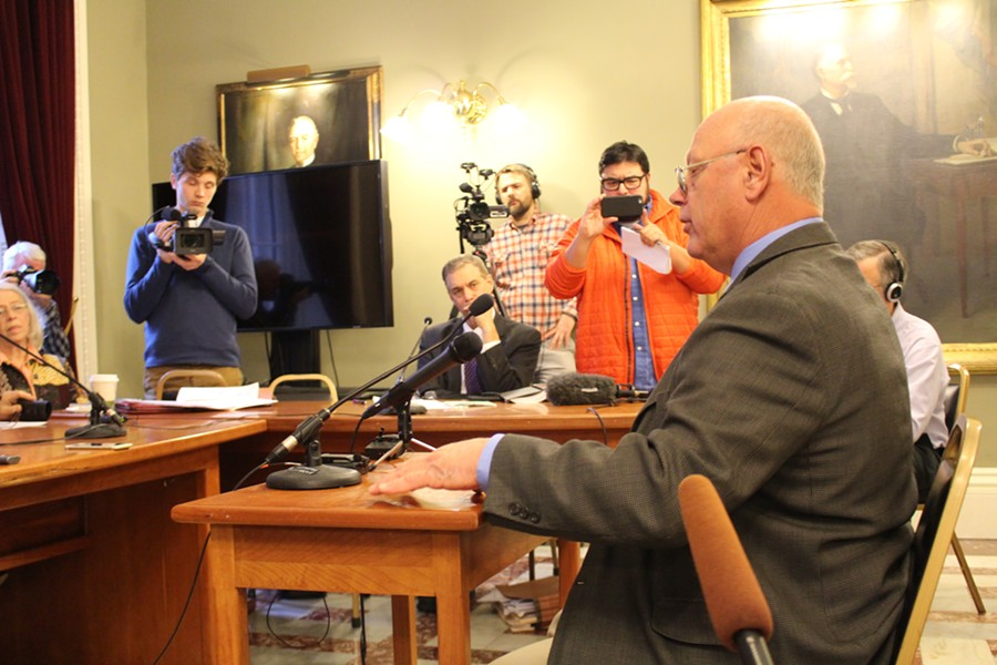 Sen. Norm McAllister addresses the Senate Rules Committee Wednesday at the Statehouse. - PAUL HEINTZ