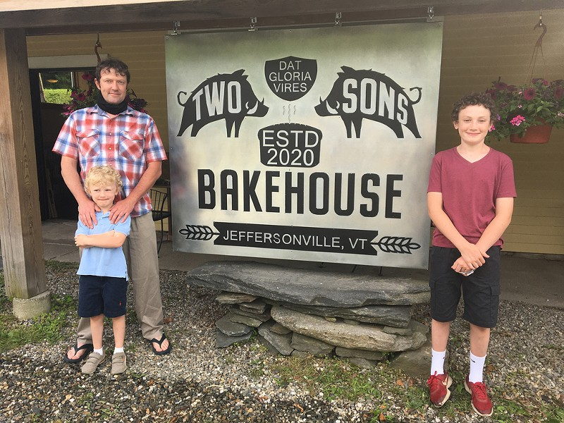 Bill Hoag and his sons in front of Two Sons Bakehouse - COURTESY OF BILL HOAG