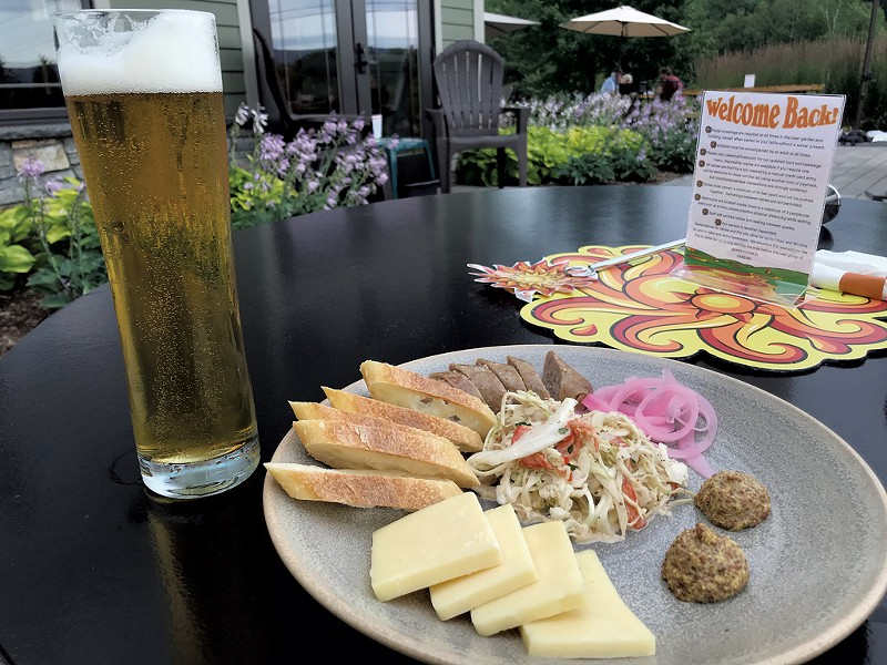 Beer and bratwurst at Lawson's Finest Liquids - SALLY POLLAK ©️ SEVEN DAYS