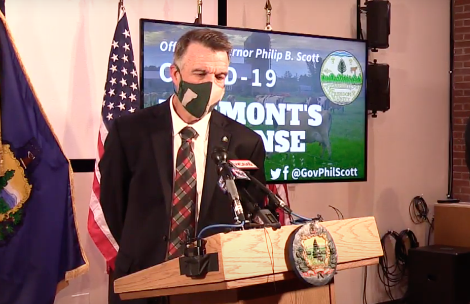 Gov. Phil Scott wearing a mask at Friday's press conference - SCREENSHOT