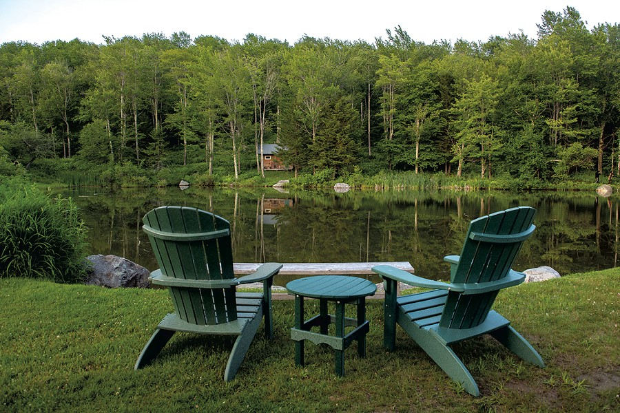 Adirondack chairs by the pond - CALEB KENNA ©️ SEVEN DAYS