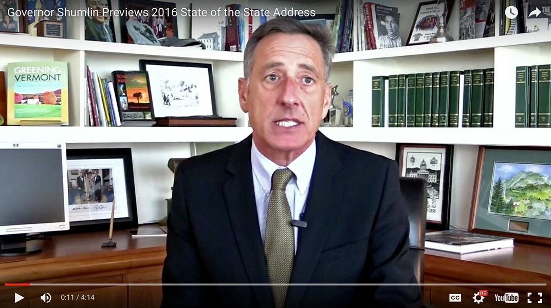 Gov. Peter Shumlin previews Thursday's State of the State address. - SCREENSHOT