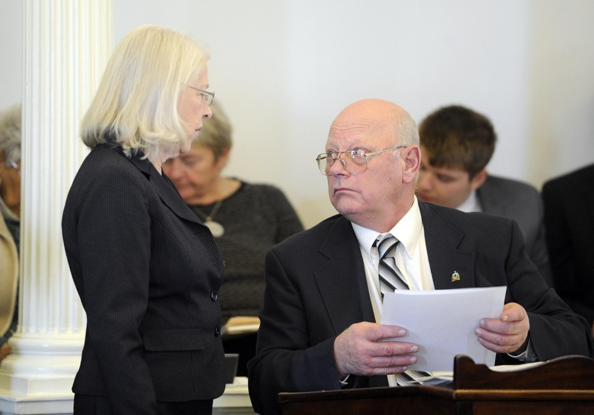 Sen. Peg Flory consults with Sen. Norm McAllister. - JEB WALLACE-BRODEUR