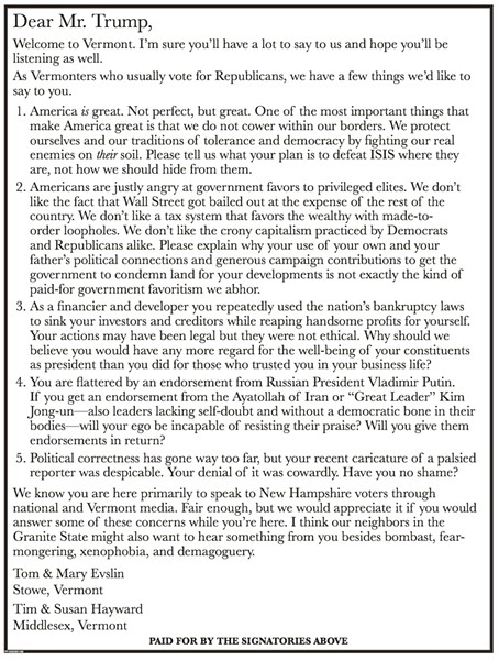 Ad in Thursday's Burlington Free Press questioning Donald Trump.