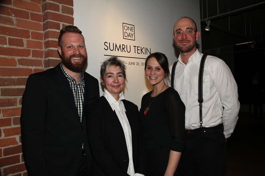 Left to right: BCA Chief Curator DJ Hellerman, Barbara Smail 2014 winner Sumru Tekin, BCA Asst. Curator Ashley Jimenez, Barbara Smail 2015 winner Clark Derbes - COURTESY OF BURLINGTON CITY ARTS