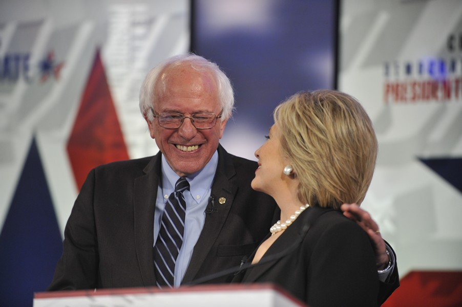 Sen. Bernie Sanders and former secretary of state Hillary Clinton debate in Des Moines last November. - FILE: CHRIS USHER/CBS © 2015 CBS TELEVISION NETWORK