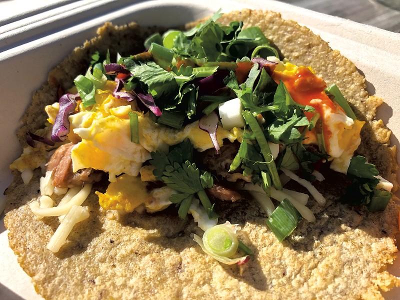 Blank Page Café breakfast taco - JORDAN BARRY ©️ SEVEN DAYS