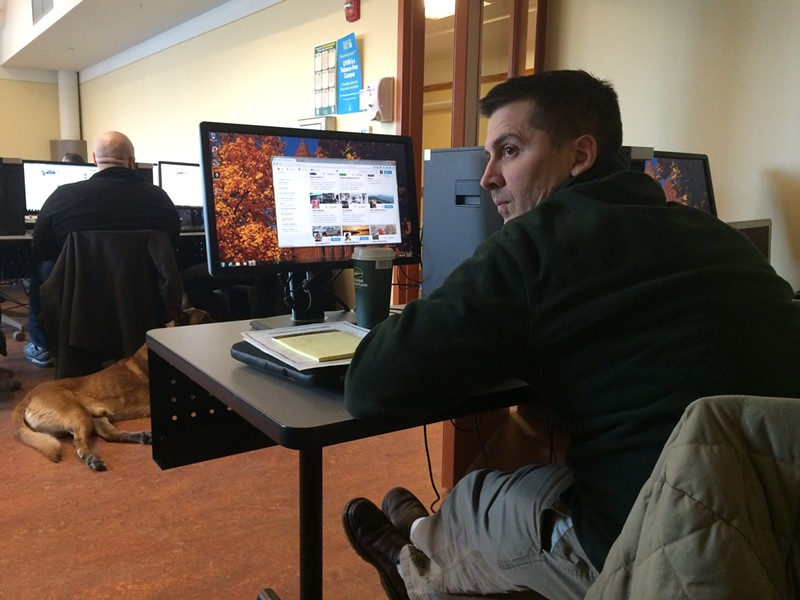 Hinesburg Police Officer Anthony Cambridge at a social media training seminar at the University of Vermont - MARK DAVIS