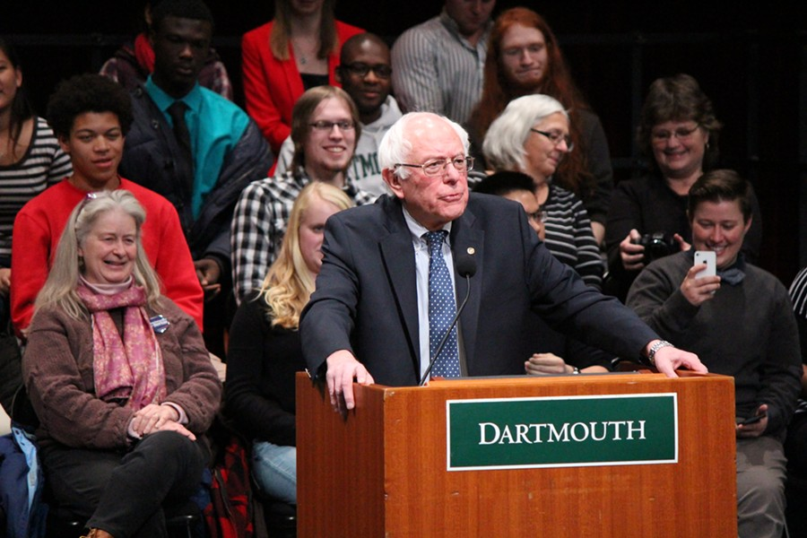 Sen. Bernie Sanders speaks Thursday at Dartmouth College. - PAUL HEINTZ