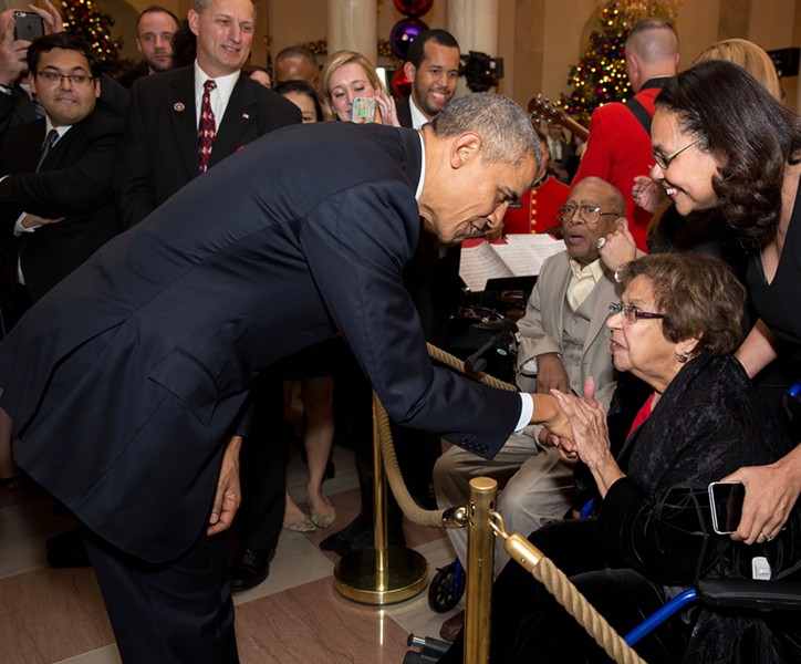 Lucille Leary meets President Obama at a White House Christmas party in 2015. - COURTESY