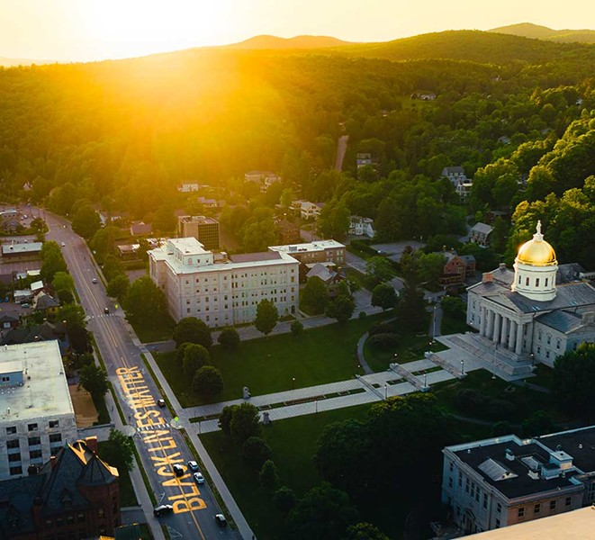 An aerial view of the Statehouse and the Black Lives Matter mural - BEN CARPENTER FOR MONTPELIER ALIVE