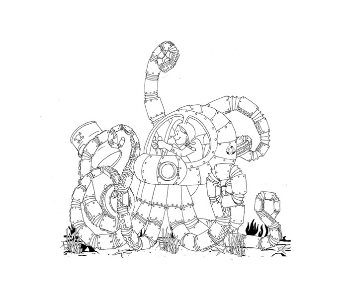 """""""Rhonda and Her Recycling Robo-Octopus,"""" drawing by Adrian Tans - COURTESY OF MICHAEL NEDELL"""