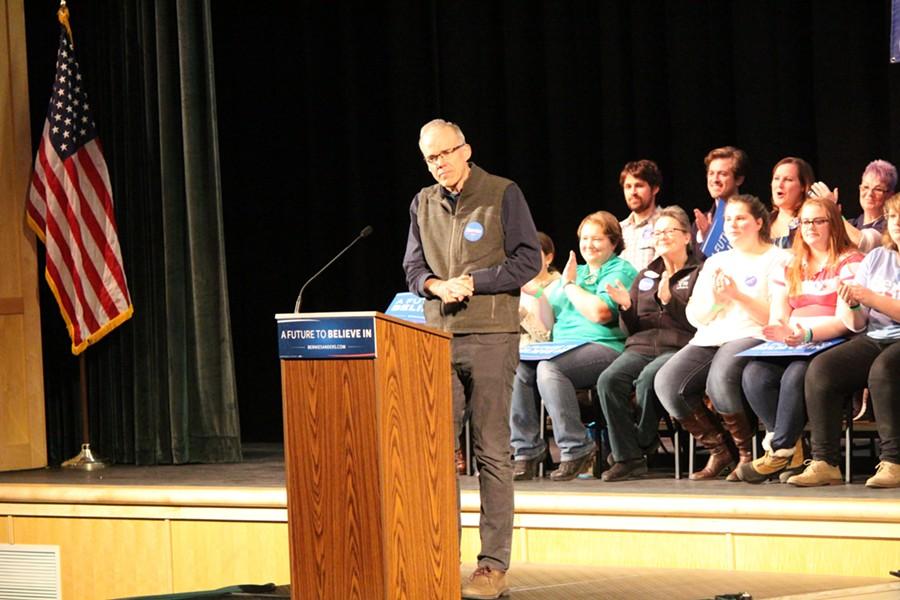 Environmentalist Bill McKibben introduces Sen. Bernie Sanders in Wolfeboro. - PAUL HEINTZ