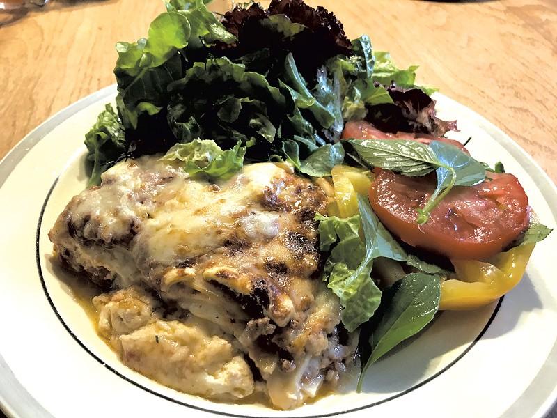 Shelburne Farms lasagna with salad - FILE: SALLY POLLAK ©️ SEVEN DAYS
