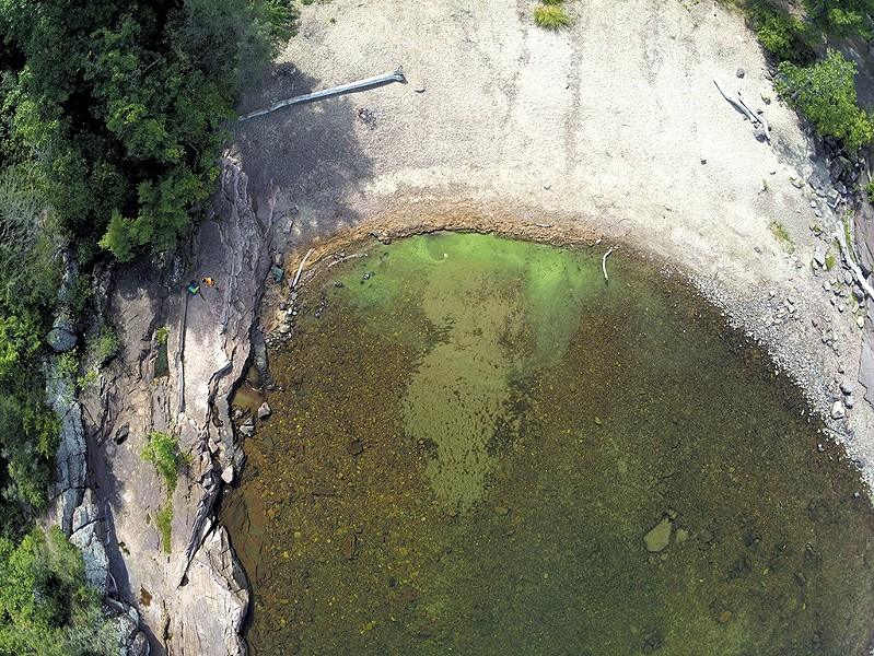 Cyanobacteria in Burlington's Oakledge Park on September 3, 2020 - COURTESY OF UNIVERSITY OF VERMONT SPATIAL ANALYSIS LABORATORY