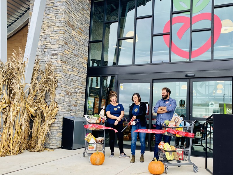 From left: Nina Lesser-Goldsmith, Katy Lesser, Eli Lesser-Goldsmith at October 28 ribbon cutting - COURTESY OF HEALTHY LIVING
