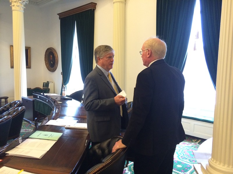 Senate President Pro Tempore John Campbell and Sen. Kevin Mullin discuss the paid leave bill. - NANCY REMSEN