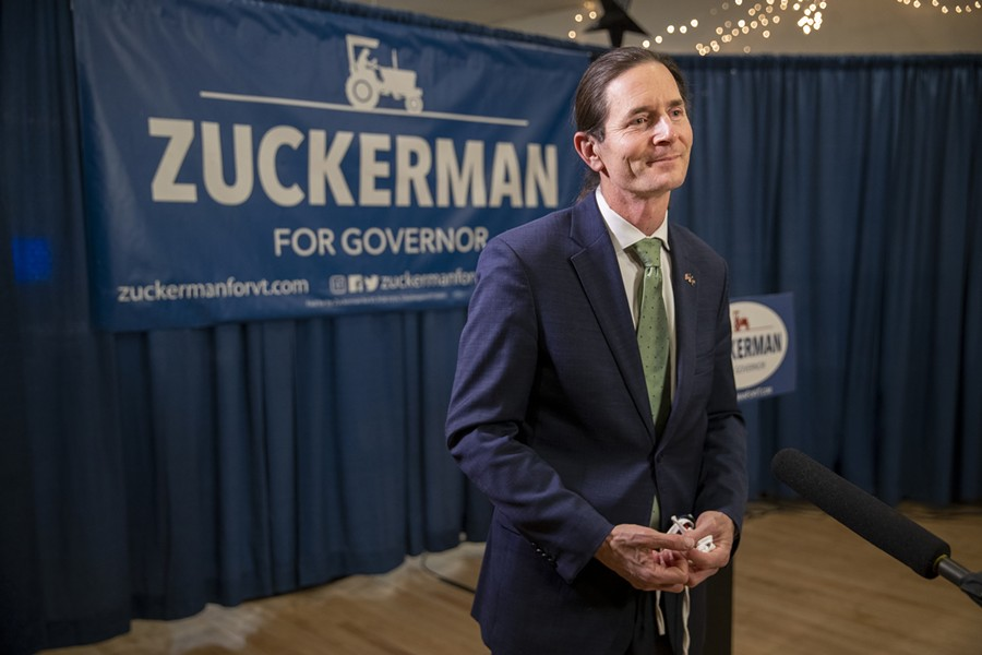 Lt. Gov. David Zuckerman at his election night party in Burlington - JAMES BUCK